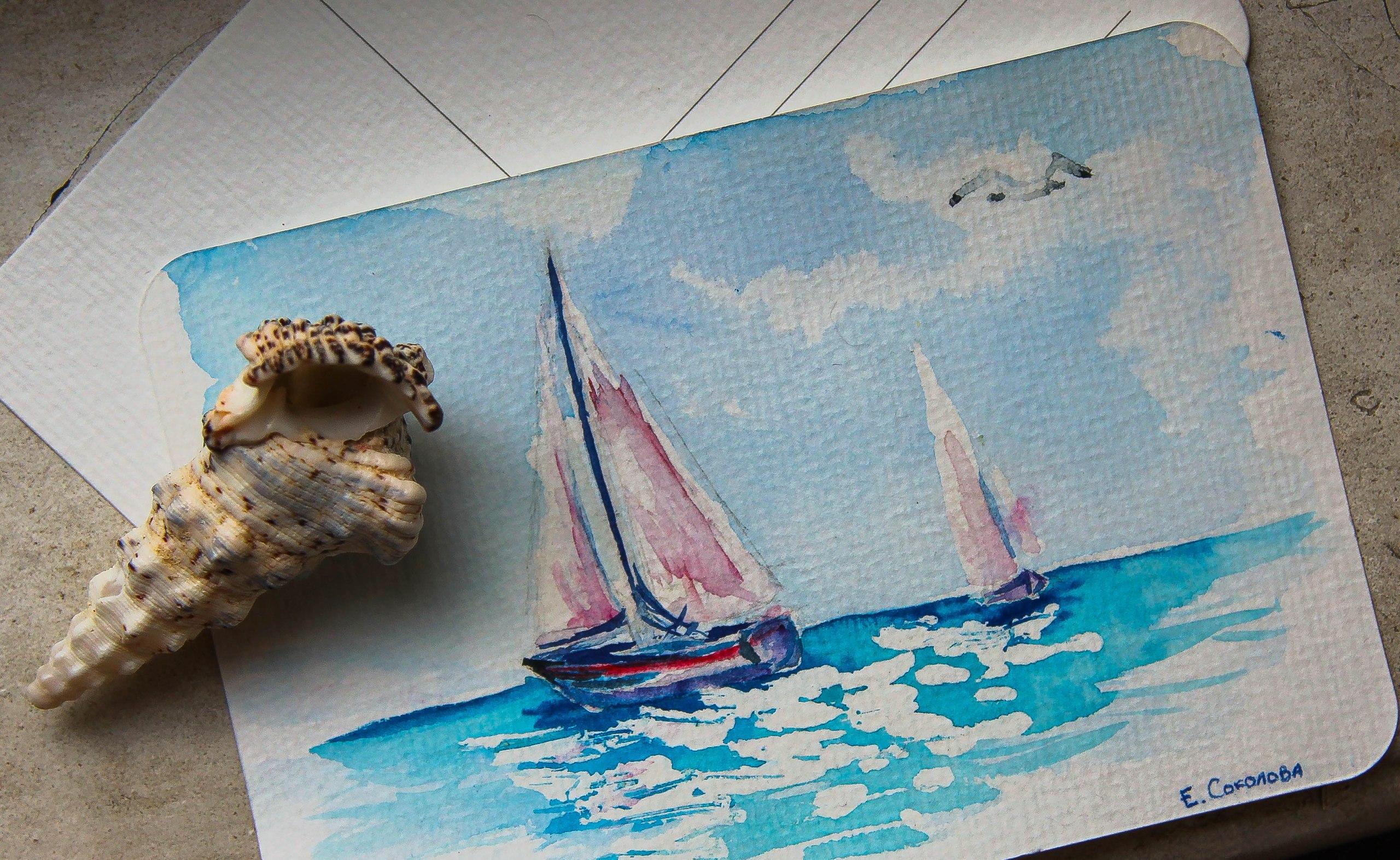 Рисунок моря своими руками